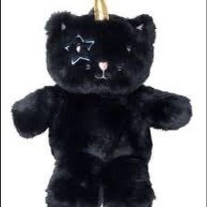 Betsey Johnson Black Cat Unicorn Plush back pack